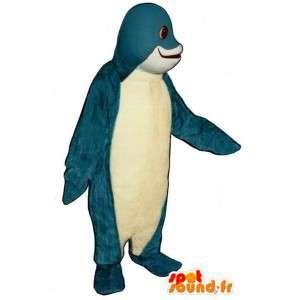 Mascotte de dauphin bleu et blanc. Costume de dauphin