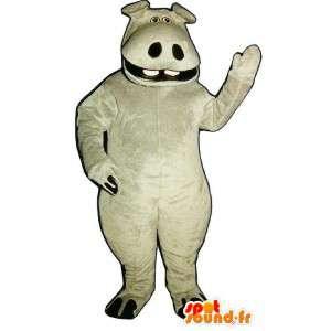 Verkleidet grau Nilpferd und lächelnd - MASFR007009 - Maskottchen Nilpferd