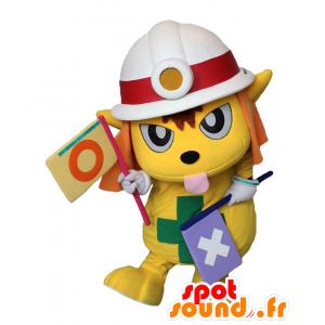 Dobell-kun mascotte, cane giallo con un casco del fuoco - MASFR27171 - Yuru-Chara mascotte giapponese