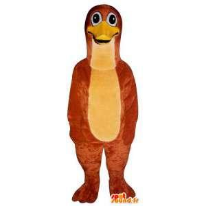 Mascotte rosso pinguino, anatra. Anatra costume