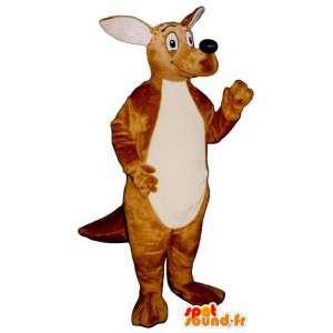 Mascotte de kangourou souriant et réaliste