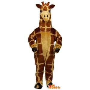 Maskot žluté a hnědé žirafa, velmi realistický