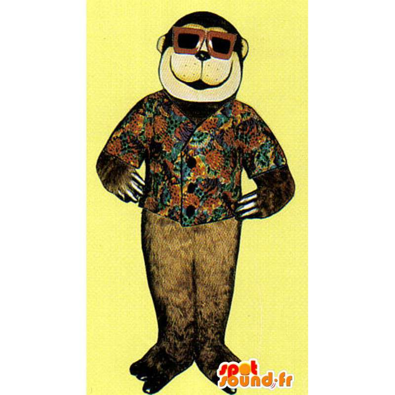 Mascotte de singe marron avec un gilet à fleurs et des lunettes - MASFR007028 - Mascottes Singe