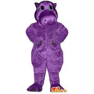 Mascotte d'hippopotame violet - Costume personnalisable