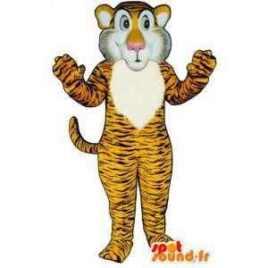 Mascot keltainen oranssi tiikeri raidallinen musta