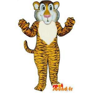 Maskot žlutá oranžová tygr pruhovaný černý