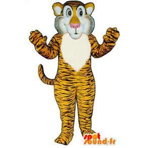 Mascotte de tigre jaune orangé, rayé de noir - MASFR007038 - Mascottes Tigre