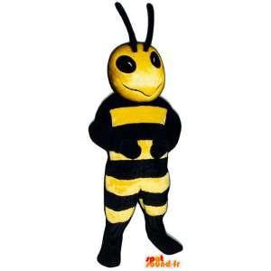 Maskotti keltainen ja musta mehiläinen. ampiainen puku
