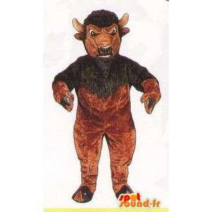 Mascot Büffel braun und schwarz - Kostüm anpassbare - MASFR007060 - Bull-Maskottchen