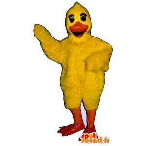 Mascotte de poussin jaune géant. Costume de canard
