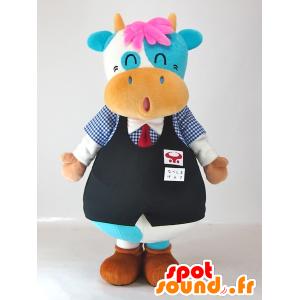 Mascotte Nabeshima Genki-kun, mucca blu e bianco divertente - MASFR27407 - Yuru-Chara mascotte giapponese