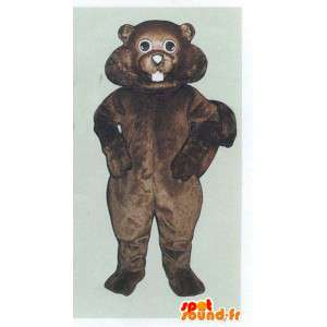 Mascot castor marrom, realista e gordinho - MASFR007081 - Beaver Mascot