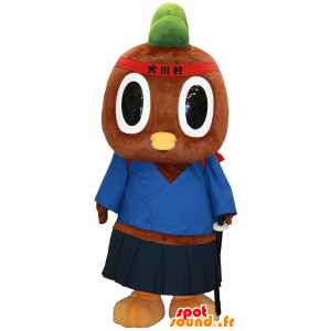 Tachi-kun mascotte, marrone e verde uccello vestita di samurai - MASFR27466 - Yuru-Chara mascotte giapponese