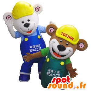 Orso mascotte, una marrone e una tuta bianca - MASFR27471 - Yuru-Chara mascotte giapponese