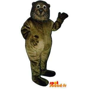 Brown mascota león marino, lindo y realista