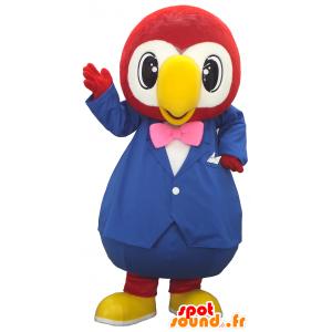 Mascotte Hyères, grande pappagallo rosso e bianco abito blu - MASFR27485 - Yuru-Chara mascotte giapponese