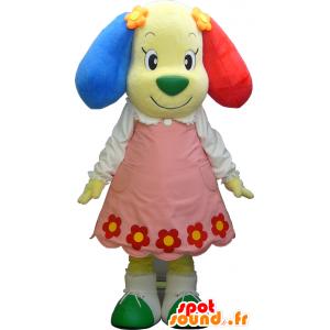 Mascotte cane giallo con un abito colorato e orecchie - MASFR27491 - Yuru-Chara mascotte giapponese
