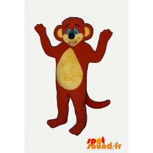Mascotte de singe rouge et jaune. Costume de singe