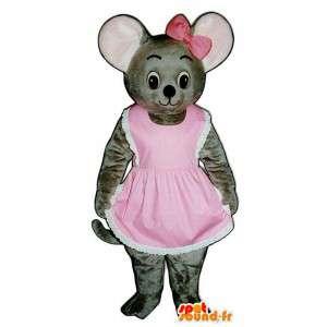 Mascotte de koala gris en rose