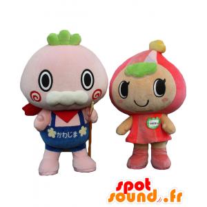 Mascotte e Kawabee Kawamin, un vecchio e un bambino - MASFR27529 - Yuru-Chara mascotte giapponese