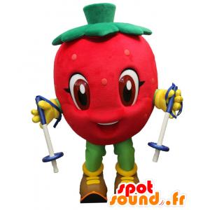 Neve-Berry mascotte, gigante rosso fragola con gli sci - MASFR27533 - Yuru-Chara mascotte giapponese