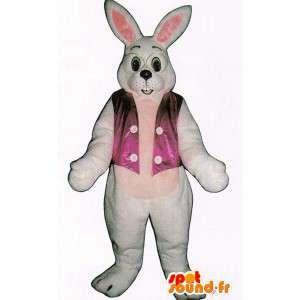 White Rabbit maskot med briller og en vest - MASFR007094 - Mascot kaniner
