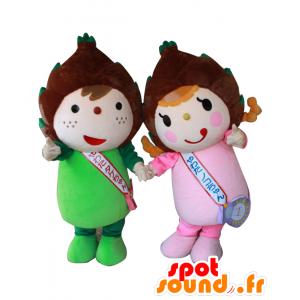 2 Mascotte Yahata e Fu Shan, i bambini bambù verde e rosa - MASFR27559 - Yuru-Chara mascotte giapponese