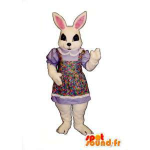 White rabbit mascot in floral dress