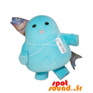 Uogokoro maskot. Snowman maskot med en fisk på ryggen -