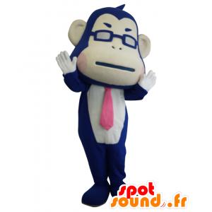 Nojima mascotte. Blue Monkey mascotte con un pareggio - MASFR27669 - Yuru-Chara mascotte giapponese