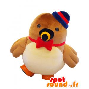 Kuikui mascotte. Marrone, mascotte uccello rosso e blu - MASFR27681 - Yuru-Chara mascotte giapponese