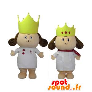 2 mascotte Kokuo e Joe. Mascotte del cane Re e la Regina - MASFR27686 - Yuru-Chara mascotte giapponese