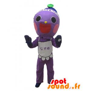 Mascotte Nasu Bow. Viola mascotte uomo sorridente - MASFR27690 - Yuru-Chara mascotte giapponese