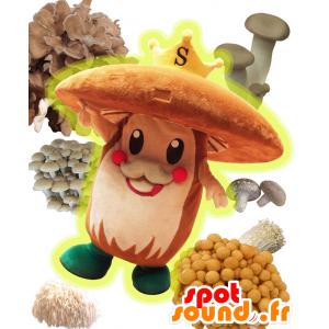 Mascotte Suckee. Brown funghi mascotte e una corona - MASFR27707 - Yuru-Chara mascotte giapponese