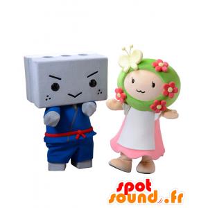 2 Mascotte cinderblock in un kimono e una ragazza colorato - MASFR27714 - Yuru-Chara mascotte giapponese