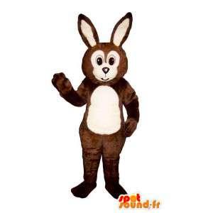 Mascotte marrone e bianco coniglio - MASFR007111 - Mascotte coniglio