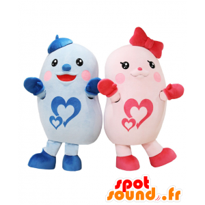 2 mascotte di blu e rosa fantasia creature - MASFR27719 - Yuru-Chara mascotte giapponese