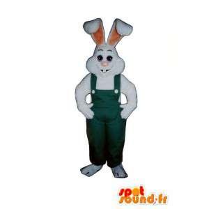 Mascot White Rabbit in green overalls - MASFR007113 - Rabbit mascot