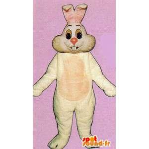 Hvid kanin kostume, smilende - Spotsound maskot kostume