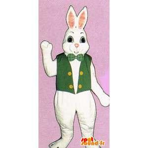 Wit konijn kostuum met een groen vest - MASFR007118 - Mascot konijnen