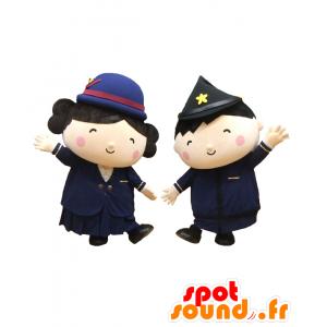 2 mascotte ragazzo e ragazza poliziotti, molto carino - MASFR27787 - Yuru-Chara mascotte giapponese