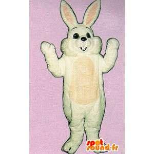 Iso kani puku valkoinen ja vaaleanpunainen, hymyilevä ja pullea - MASFR007119 - maskotti kanit