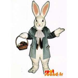 Mascotte de lapin blanc réaliste en costume - MASFR007120 - Mascotte de lapins