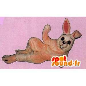 Mascotte de lapin rose, simple, de taille géante