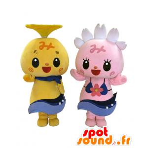 2 rosa e giallo mascotte Mishima e Shizuoka - MASFR27863 - Yuru-Chara mascotte giapponese