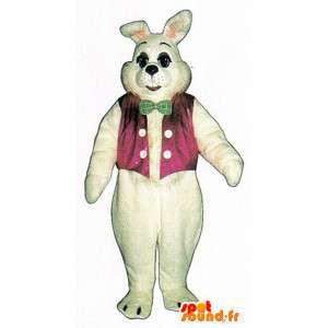 Mascote coelho branco, gigante, com um colete-de-rosa - MASFR007128 - coelhos mascote