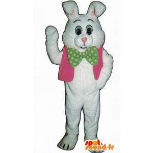Hvid kanin kostume klædt i en lyserød vest - Spotsound maskot