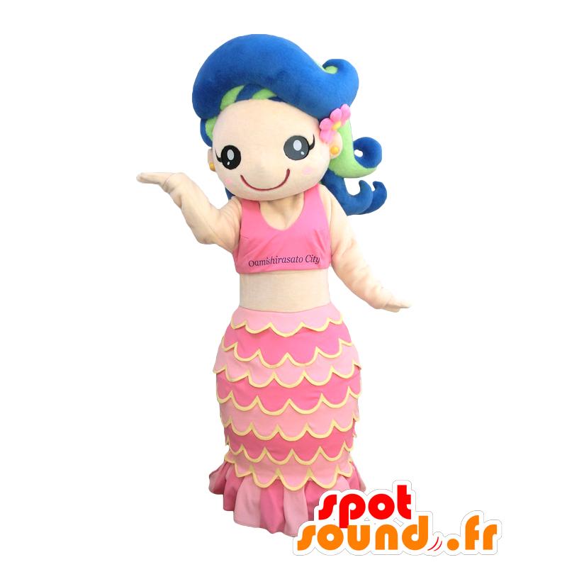 Marin Maskottchen Hübsche Rosa Meerjungfrau Mit Dem Blauen Haar