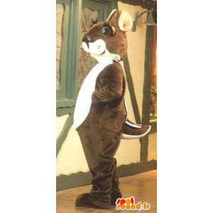 Mascotte d'écureuil marron et blanc