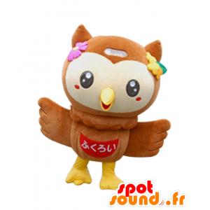 Mascotte Fuppi, marrone gufo, il beige e giallo, grande successo - MASFR27945 - Yuru-Chara mascotte giapponese